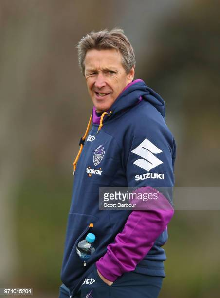 Craig Bellamy coach of the Storm looks on during a Melbourne Storm NRL training session at Gosch's Paddock on June 14 2018 in Melbourne Australia