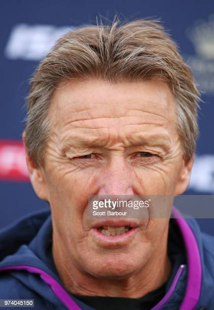 Craig Bellamy coach of the Storm speaks to the media during a Melbourne Storm NRL training session at Gosch's Paddock on June 14 2018 in Melbourne...