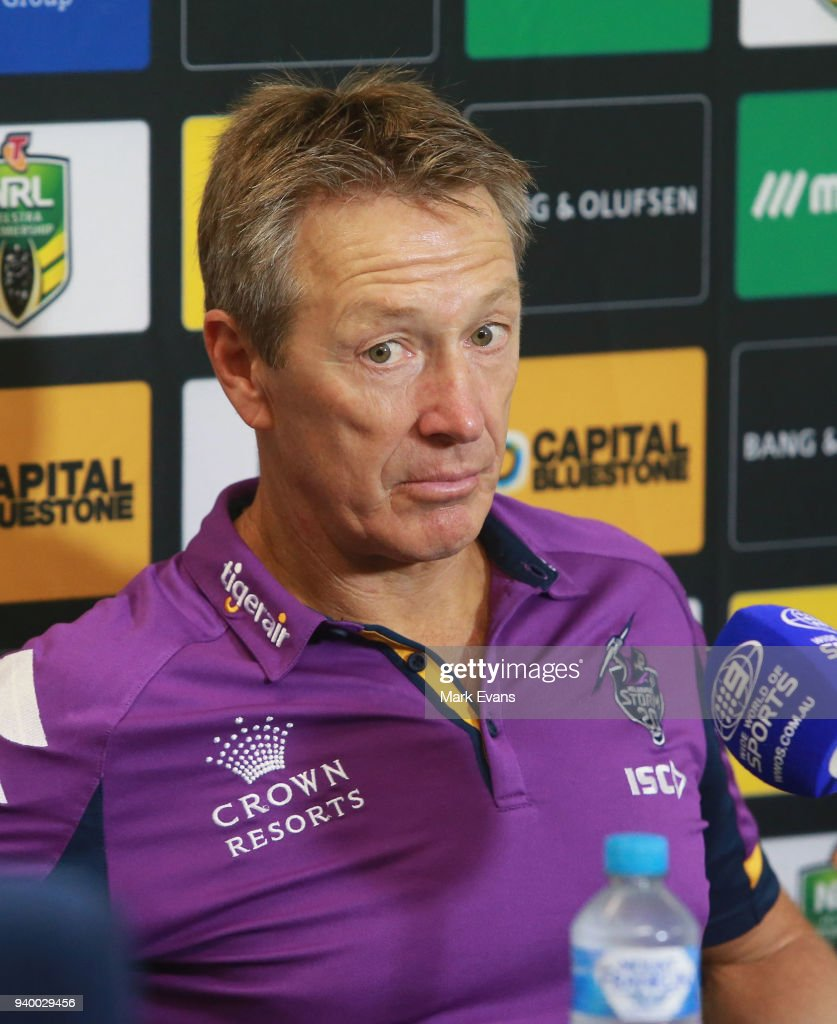 Craig Bellamy, Coach of the Storm talks during the post match press conference after the round four NRL match between the Cronulla Sharks and the Melbourne Storm at Southern Cross Group Stadium on March 30, 2018 in Sydney, Australia.