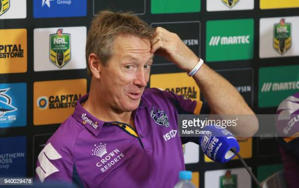 Craig Bellamy Coach of the Storm talks during the post match press conference after the round four NRL match between the Cronulla Sharks and the...