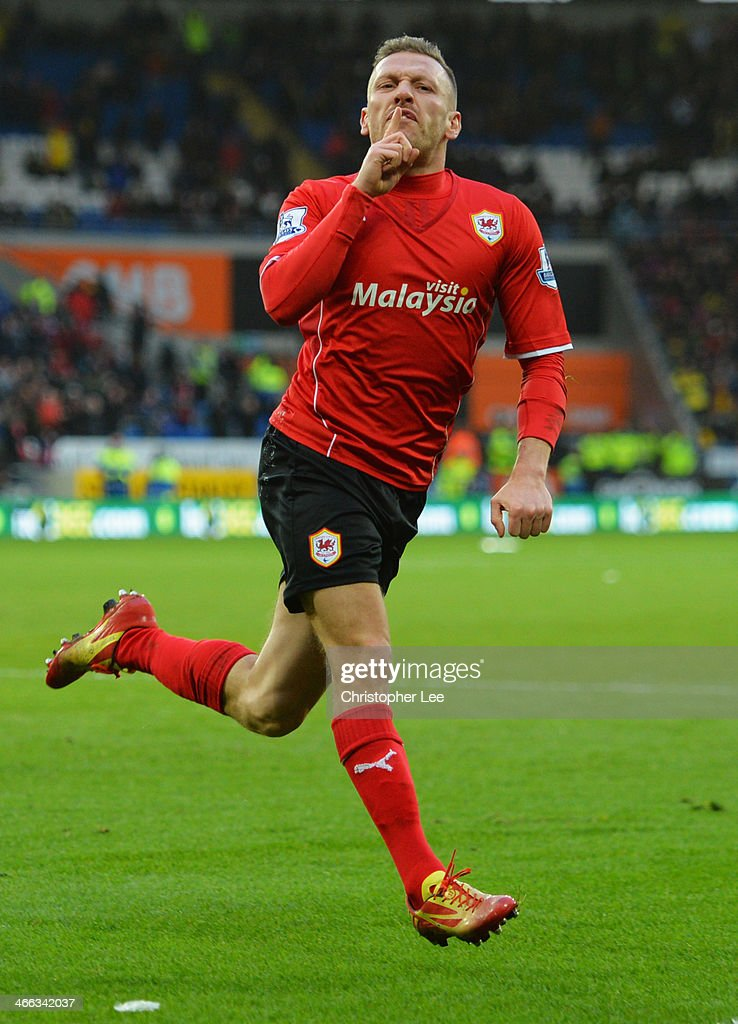 Craig Bellamy of Cardiff City celebrates as he scores their first goal during the Barclays Premier League match between Cardiff City and Norwich City at Cardiff City Stadium on February 1, 2014 in Cardiff, Wales.