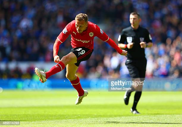 Craig Bellamy of Cardiff City scores the opening goal during the Barclays Premier League match between Cardiff City and Chelsea at Cardiff City...