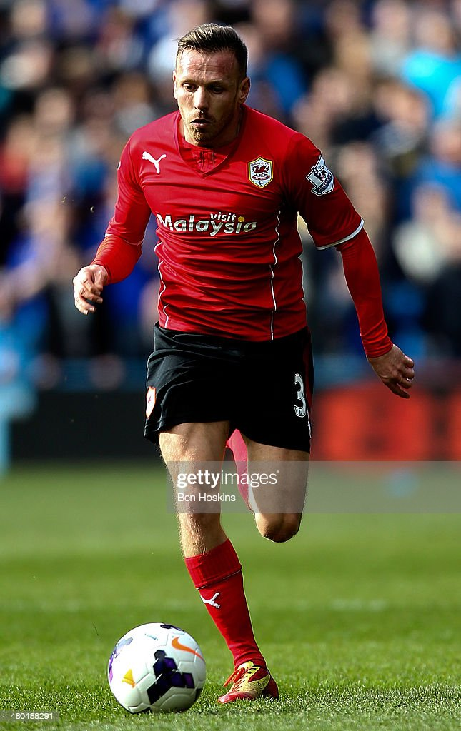 Craig Bellamy of Cardiff in action during the Barclays Premier League match between Cardiff City and Liverpool at Cardiff City Stadium on March 22, 2014 in Cardiff, Wales.