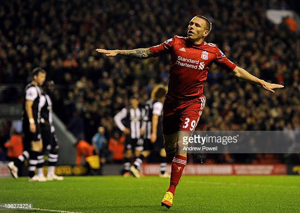 Craig Bellamy of Liverpool celebrates after scoring the equalising goal during the Barclays Premier League match between Liverpool and Newcastle...