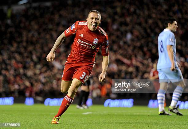 Craig Bellamy of Liverpool celebrates scoring his team's second goal during the Carling Cup Semi Final Second Leg match between Liverpool and...