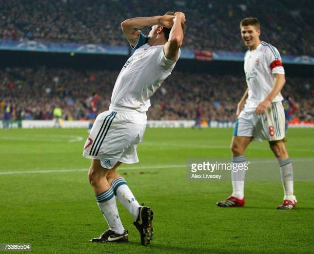 Craig Bellamy of Liverpool celebrates with a golf swing