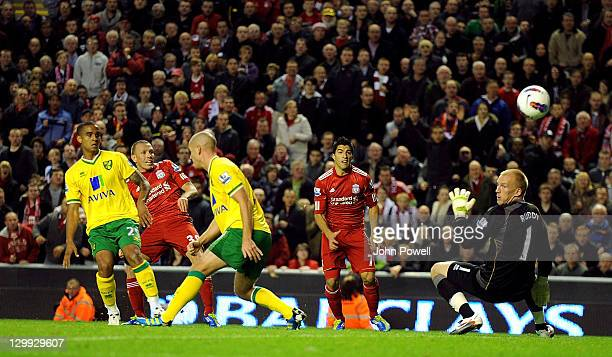 Craig Bellamy of Liverpool scores the opening goal during the Barclays Premier League match between Liverpool and Norwich City at Anfield on October...