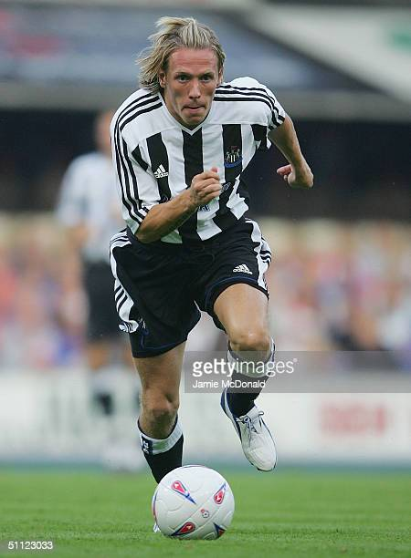 Craig Bellamy of Newcastle in action during the preseason friendly match between Ipswich Town v Newcastle United at Portman Road on July 28 2004 in...