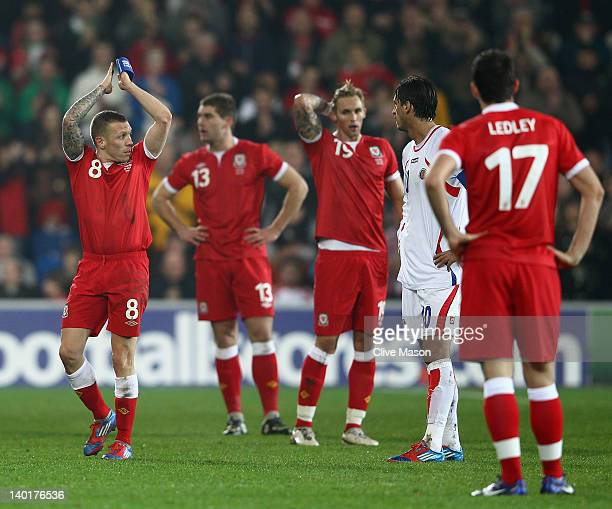 Craig Bellamy of Wales applauds as he is substituted during the Gary Speed Memorial International Match between Wales and Costa Rica at the Cardiff...