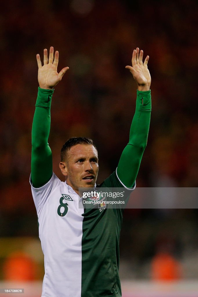 Craig Bellamy of Wales thanks the fans after the FIFA 2014 World Cup Qualifying Group A match between Belgium and Wales at King Baudouin Stadium on October 15, 2013 in Brussels, Belgium.