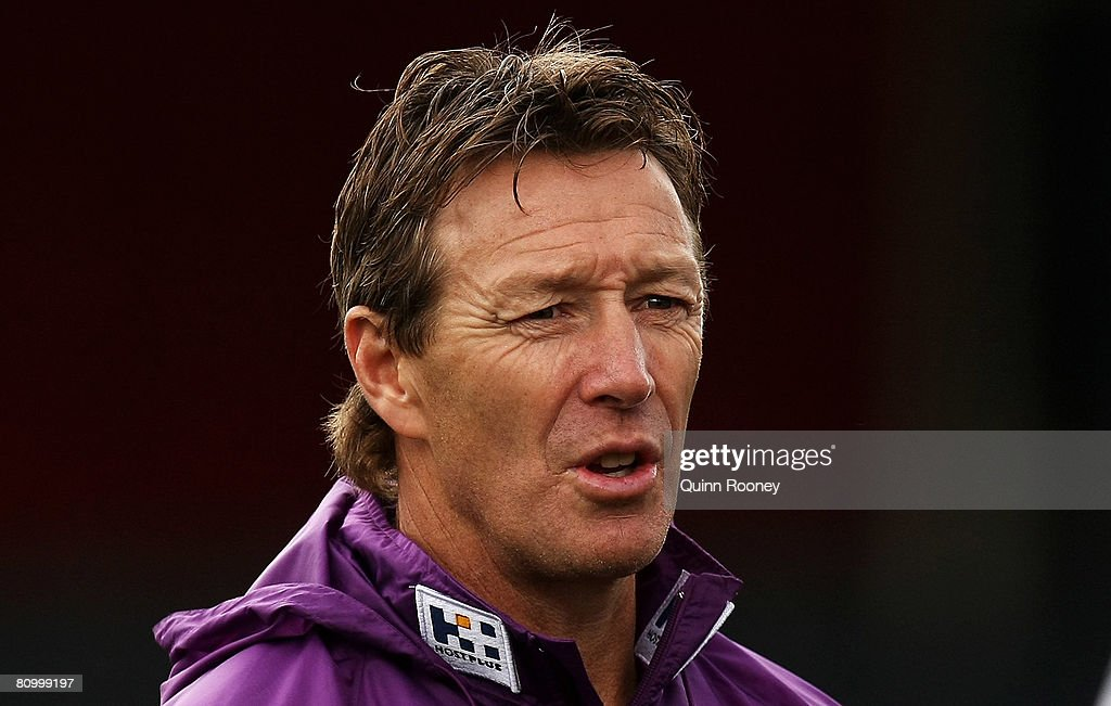 Craig Bellamy the coach of the Storm gives instructions during a Melbourne Storm NRL training session held at MC Labour Park on May 6, 2008 in Melbourne, Australia.