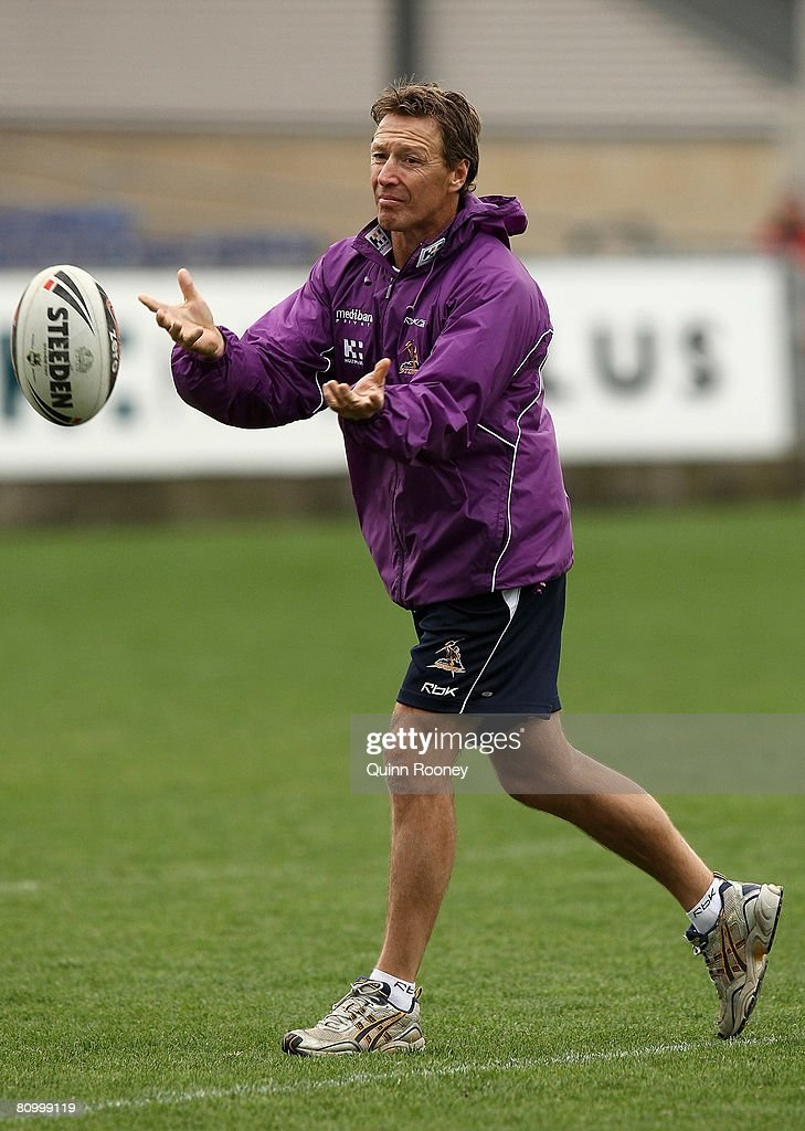 Craig Bellamy the coach of the Storm passes the ball during a Melbourne Storm NRL training session held at MC Labour Park on May 6, 2008 in Melbourne, Australia.