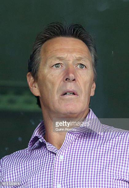 Craig Bellamy the coach of the Storm watches on from the coaches box during the round one NRL match between the Melbourne Storm and the St George...
