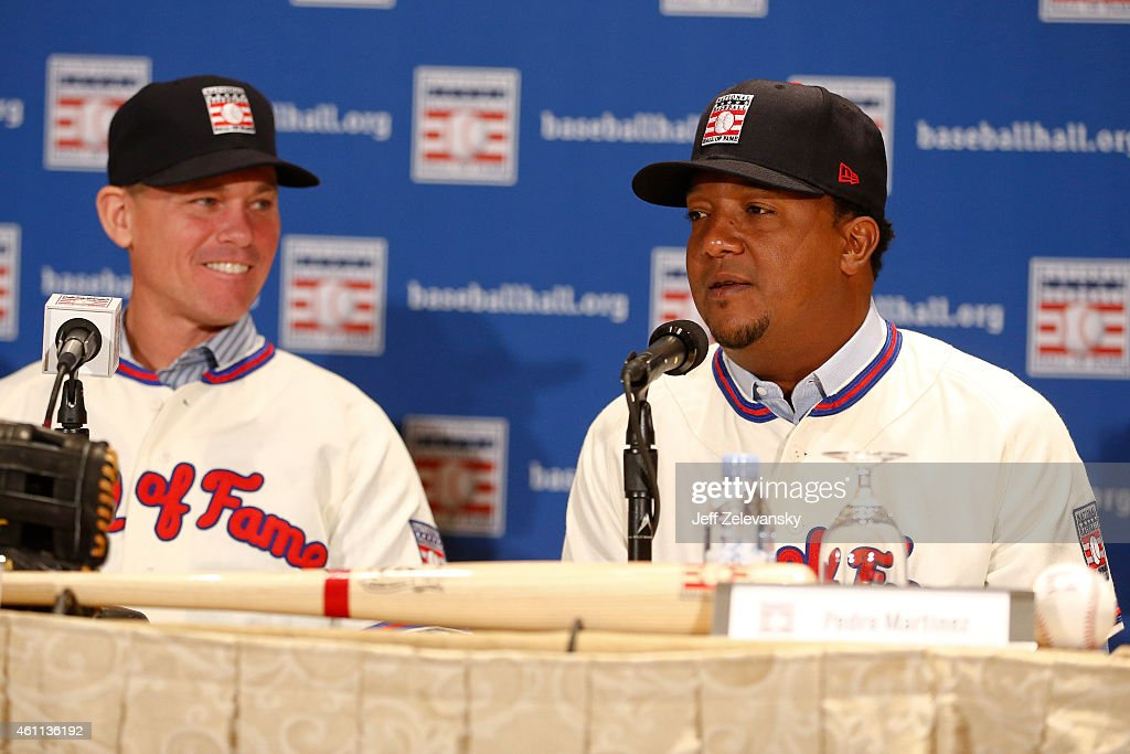 Craig Biggio looks on as Pedro Martinez addresses the media at the press conference for the 2015 Baseball Hall of Fame inductees January 7, 2015 in New York.