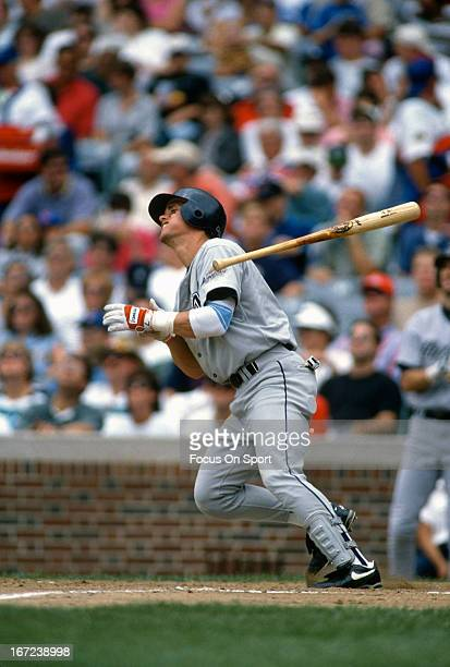 Craig Biggio of the Houston Astros bats against the Chicago Cubs during an Major League Baseball game circa 1995 at Wrigley Field in Chicago,...