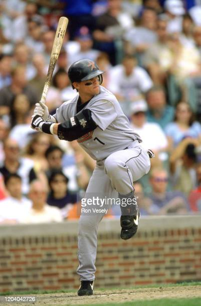 Craig Biggio of the Houston Astros bats during an MLB game at Wrigley Field in Chicago, Illinois. Biggio played for 20 seasons, all with the Houston...