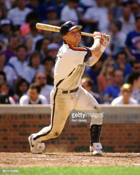 Craig Biggio of the Houston Astros bats during an MLB game versus the Chicago Cubs at Wrigley Field in Chicago Illinois during the 1989 season