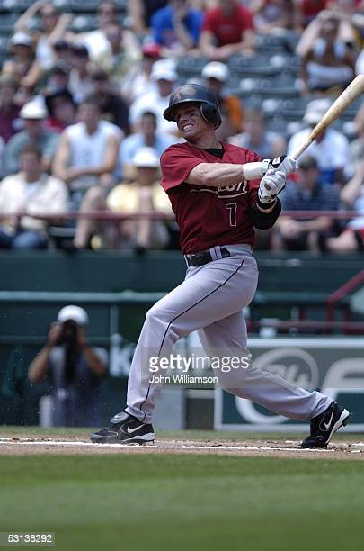 Craig Biggio of the Houston Astros bats during the game against the Texas Rangers at Ameriquest Field in Arlington on May 22 2005 in Arlington Texas...