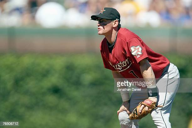 Craig Biggio of the Houston Astros gets ready infield during the game agaiinst the Chicago Cubs on September 2, 2007 at Wrigley Field in Chicago,...