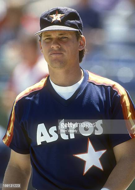 Craig Biggio of the Houston Astros looks on during an MLB game versus the San Francisco Giants at Candlestick Park in San Francisco, California....