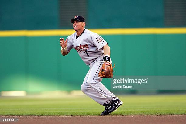 Craig Biggio of the Houston Astros plays second base against the Washington Nationals on May 23, 2006 at RFK Stadium in Washington, DC. The Nationals...