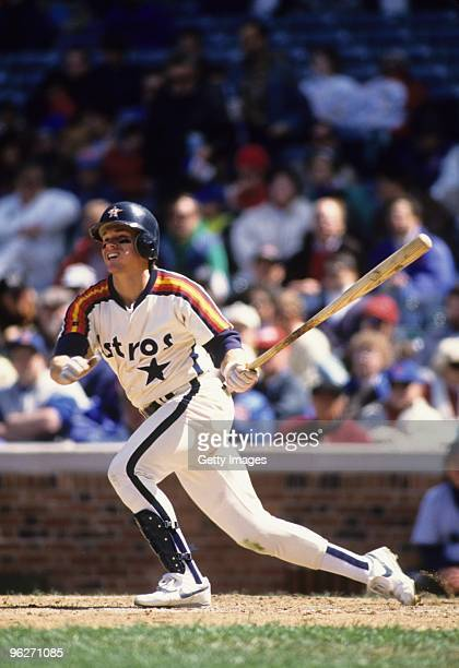 Craig Biggio of the Houston Astros swings at a pitch during a 1992 season game. Craig Biggio played for the Astros from 1988-2007.