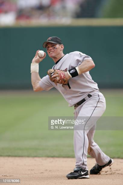 Craig Biggio of the Houston Astros throws to first base during a game against the St. Louis Cardinals at Busch Stadium in St. Louis, Mo. On July 16,...