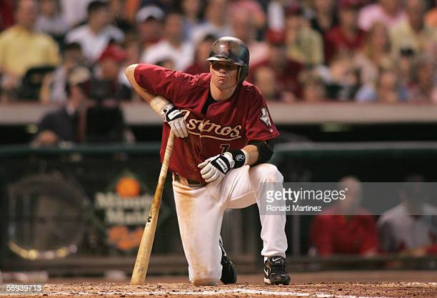 Craig Biggio of the Houston Astros waits in the batters box during Game Four of the National League Championship Series against the St. Louis...