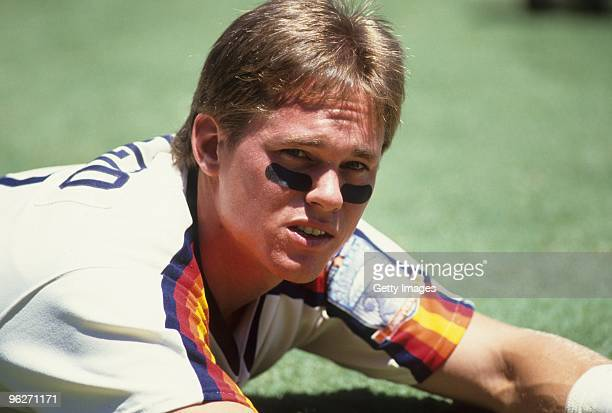 Craig Biggio of the Houston Astros warms up before a 1990 season game. Craig Biggio played for the Astros from 1988-2007.