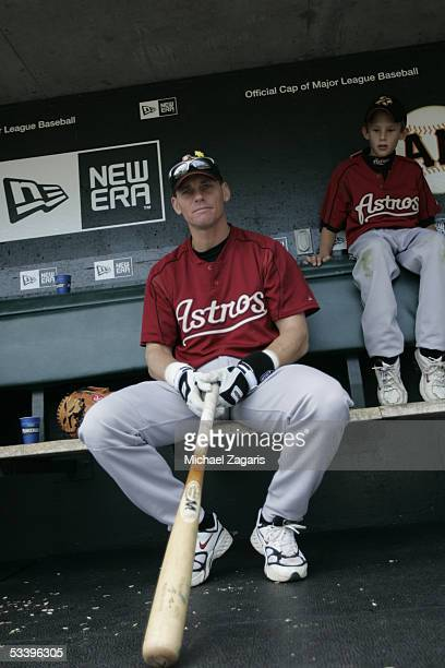 Craig Biggio of the Houston Astros with his son before the game against the San Francisco Giants at SBC Park on August 7, 2005 in San Francisco,...