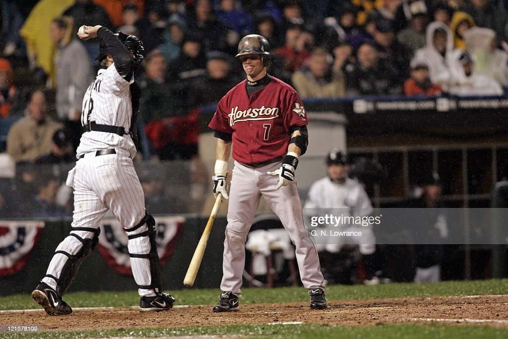 Craig Biggio reacts to a called third strike during game 2 of the 2005 World Series against the Houston Astros at US Cellular Field in Chicago, Illinois on October 23, 2005. The White Sox won 7-6.
