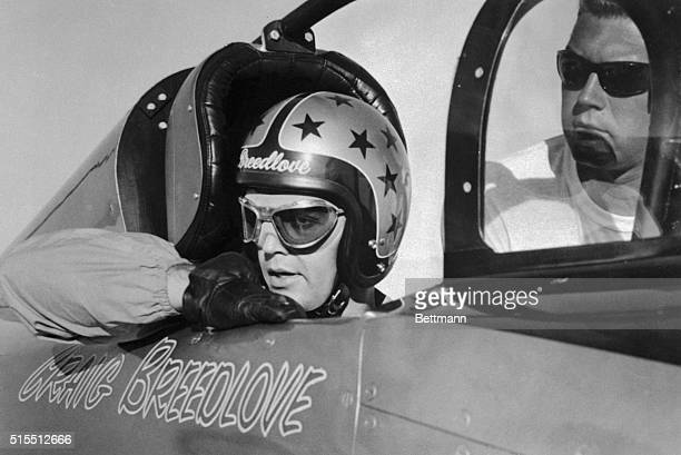 Craig Breedlove sits in his Spirit of America prior to a new land speed record Breedlove's jet powered racer traveled 408 mph average for the two runs