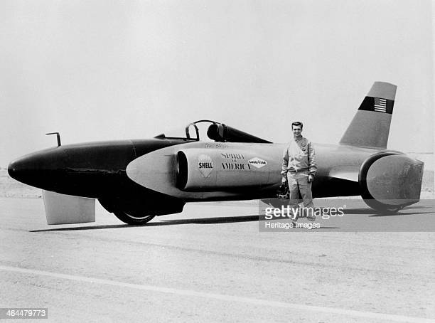 Craig Breedlove with 'Spirit of America' Land Speed Record car, c1963. Five time World Land Speed Record holder. He started out as a technician in...