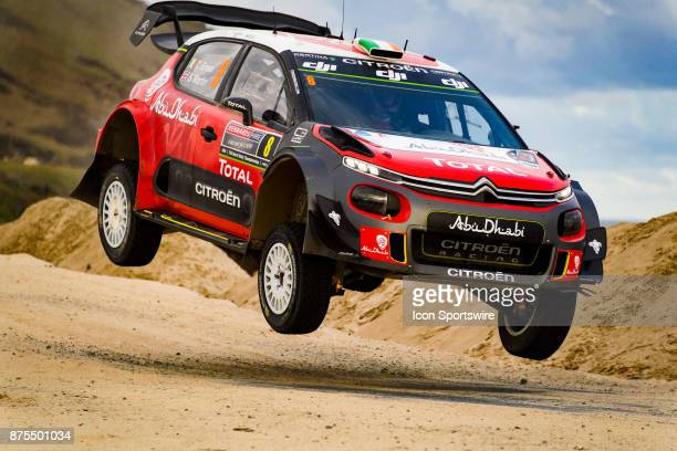 Craig Breen and codriver Scott Martin of Citroën World Rally Team gets some air on a jump during Super Special Stage the Rally Australia round of the...