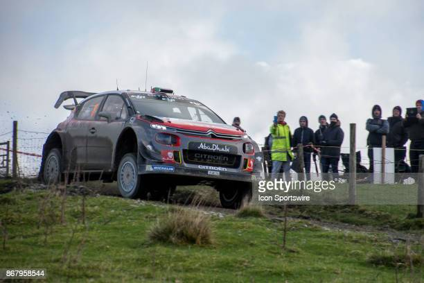 Craig Breen and codriver Scott Martin of Citroën World Rally Team compete during the Lake Brenig stage of the Rally GB round of the 2017 FIA World...