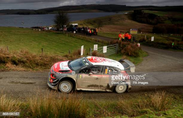 Craig Breen and Scott Martin in their Citroen Total Abu Dhabi WRT Citroen C3 WRC during day four of the Dayinsure Wales Rally GB PRESS ASSOCIATION...