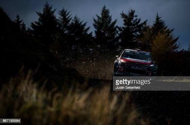 Craig Breen of Ireland and Citroen Total Abu Dhabi WRT drives with codriver Scott Martin of Great Britain during the Sweet Lamb stage of the FIA...