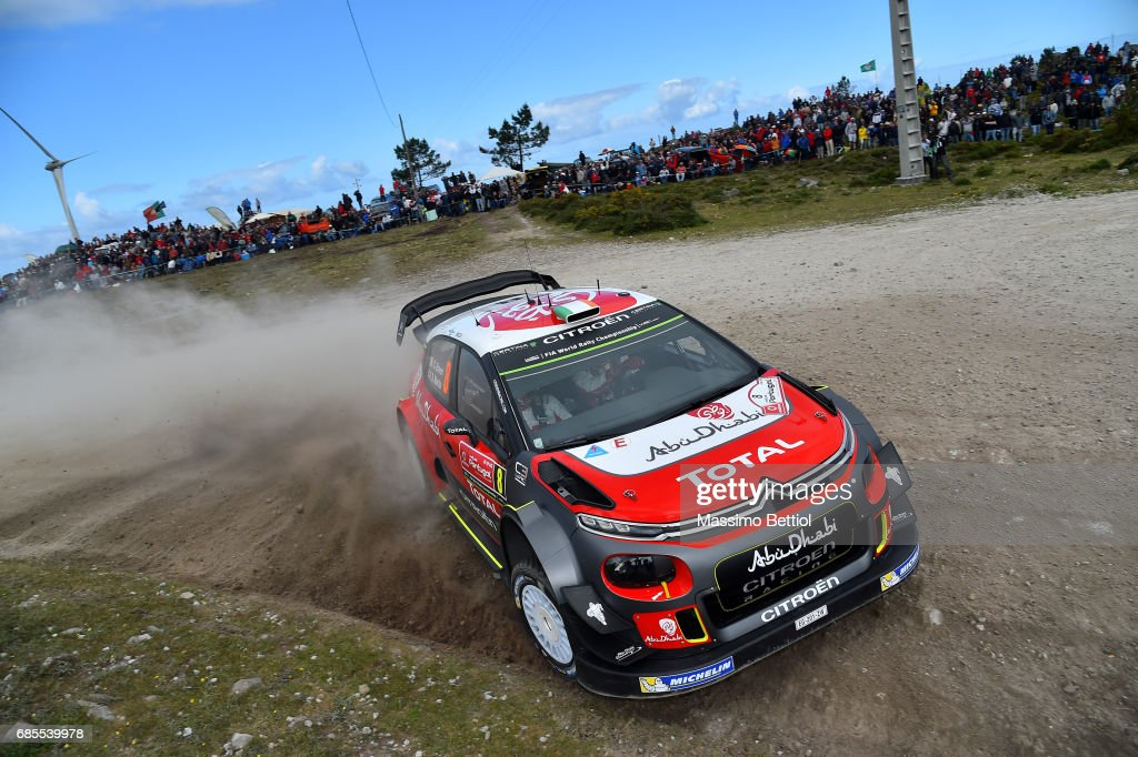 Craig Breen of Ireland and Scott Martin of Great Britain compete in their Citroen Total Abu Dhabi WRT Citroen C3 WRC during Day One of the WRC Portugal on May 19, 2017 in Faro, Portugal.