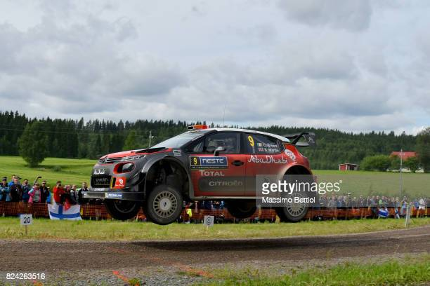 Craig Breen of Ireland and Scott Martin of Great Britain compete in their Citroen Total Abu Dhabi WRT Citroen C3 WRC during Day Two of the WRC...