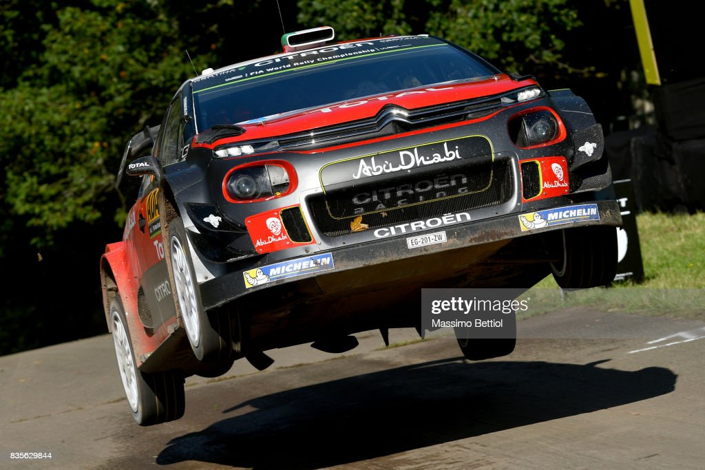 Craig Breen of Ireland and Scott Martin of Great Britain compete in their Citroen Total Abu Dhabi WRT Citroen C3 WRC during Day Two of the WRC Germany on August 19, 2017 in Trier, Germany.