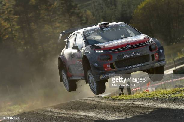 Craig Breen of Ireland and Scott Martin of Great Britain compete in their Citroen Total Abu Dhabi WRT Citroen C3 WRC during Day One of the WRC Great...