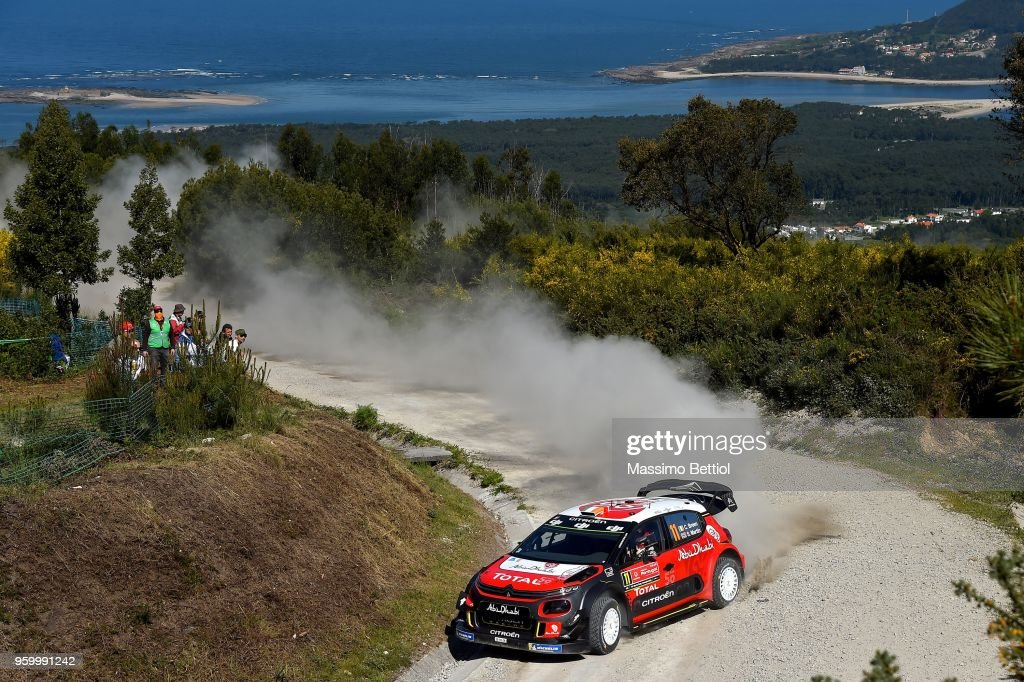 Craig Breen of Ireland and Scott Martin of Great Britain compete in their Citroen Total Abu Dhabi WRT Citroen C3 WRC during Day Two of the WRC Portugal on May 18, 2018 in Faro, Portugal.