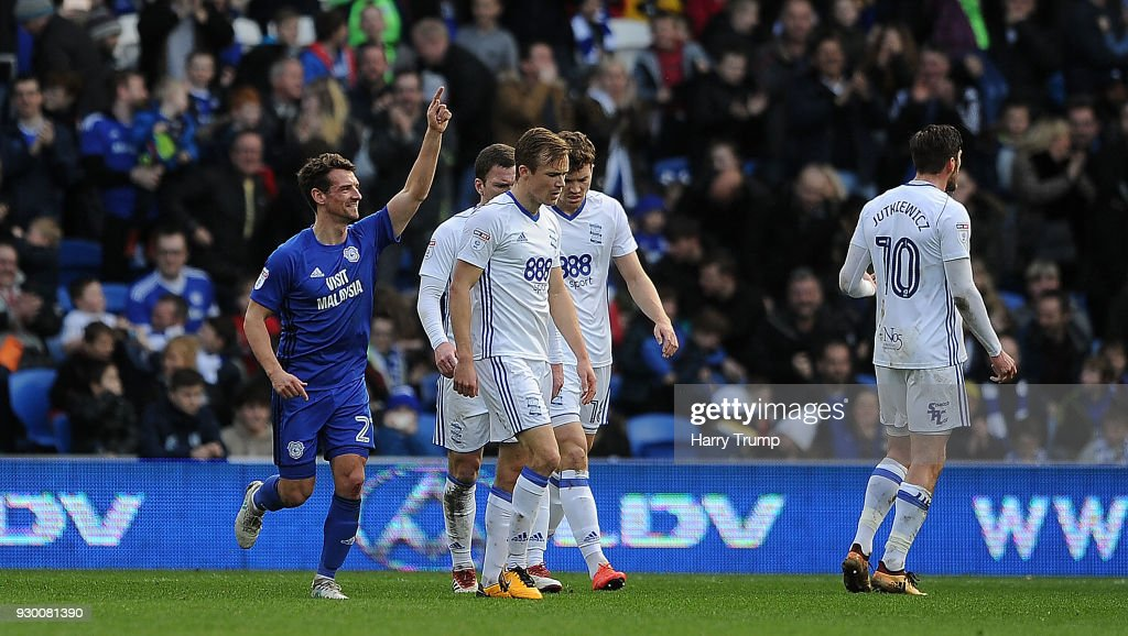 Craig Bryson of Cardiff City(L) celebrates after scoring his sides second goal during the Sky Bet Championship match between Cardiff City and Birmingham City at the Cardiff City Stadium on March 10, 2018 in Cardiff, Wales.