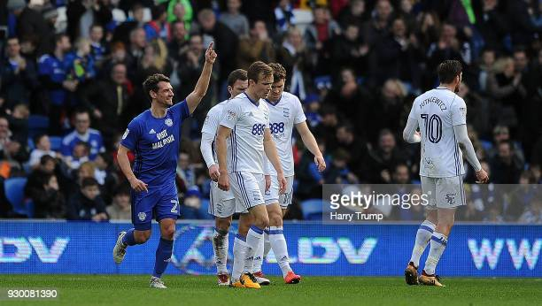 Craig Bryson of Cardiff City celebrates after scoring his sides second goal during the Sky Bet Championship match between Cardiff City and Birmingham...