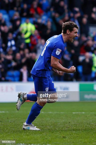 Craig Bryson of Cardiff City celebrates scoring his sides second goal of the match during the Sky Bet Championship match between Cardiff City and...