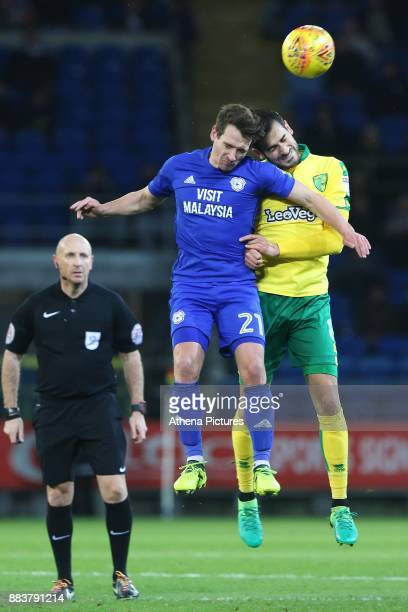 Craig Bryson of Cardiff City contends with Mario Vrancic of Norwich City during the Sky Bet Championship match between Cardiff City and Norwich City...