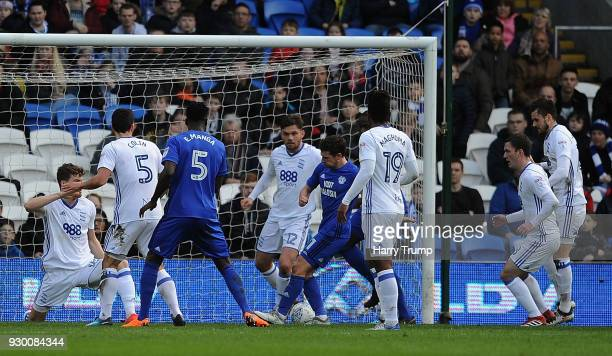 Craig Bryson of Cardiff City scores his sides second goal during the Sky Bet Championship match between Cardiff City and Birmingham City at the...