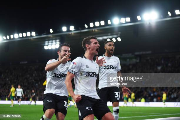 Craig Bryson of Derby celebrates as he scores during the Sky Bet Championship match between Derby County and Norwich City at Pride Park Stadium on...