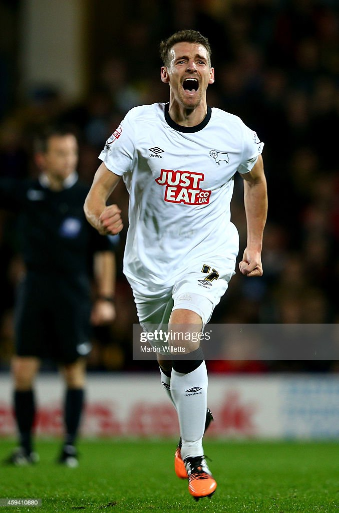 Craig Bryson of Derby County celebrates scoring his sides second goal during the Sky Bet Championship match between Watford and Derby County at Vicarage Road on November 22, 2014 in Watford, England.