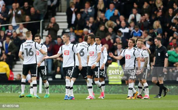 Craig Bryson of Derby County celebrates with his team mates after scoring a goal to make it 31 during the Sky Bet Championship match between Derby...